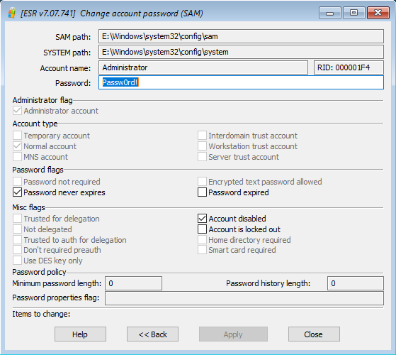 Elcomsoft System Recovery: changing an account password