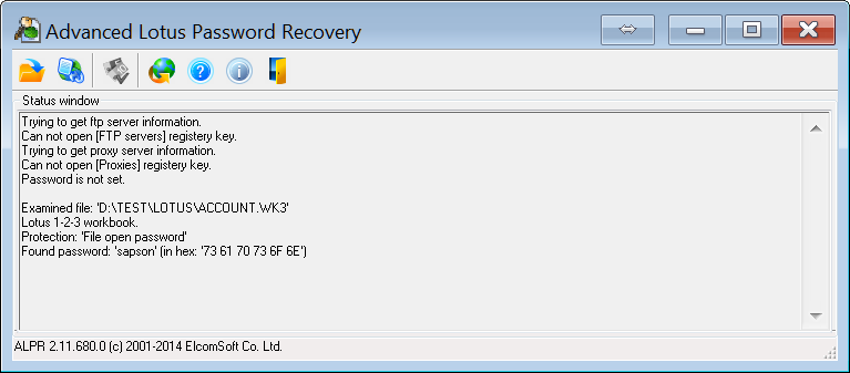 Advanced Lotus Password Recovery shows an empty window