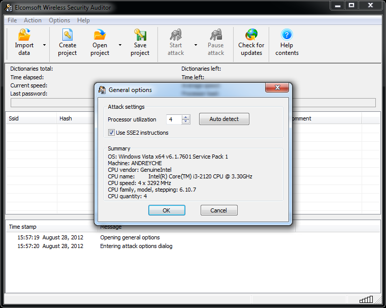Elcomsoft Wireless Security Auditor hardware utilization control